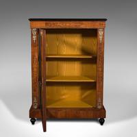 Antique Pier Cabinet, English, Walnut, Inlay, Display Cupboard, Victorian, 1870 (3 of 12)