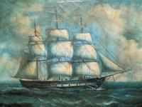 Original Seascape Oil Painting of 18th Century Tall-Masted Ship on the High Seas (6 of 12)
