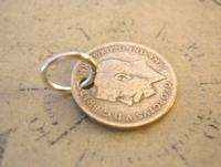 Antique Pocket Watch Chain Fob 1920 Silver Lucky Three Pence Old 3d Coin Fob (8 of 8)