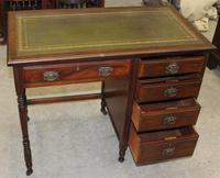 1930s Oak Desk with Green Leather Inset '1 Piece' (4 of 4)