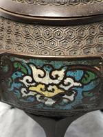 Antique 19th Century Bronze Japanese Inugami Enamel Inlaid Incense Burner Lid (5 of 12)