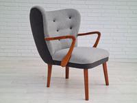 Danish lounge armchair, 60s, furniture wool, completely reupholstered (3 of 17)