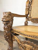 Large Carved Wooden Lion Throne Chair (8 of 10)