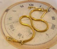 Vintage Pocket Watch Chain 1970 12ct Gold Plated Snake Link Albert With T Bar (4 of 10)