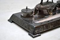 Antique Silver Plate Stag Inkwell Stand by  James Deakin (3 of 8)