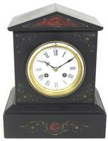 Antique French Slate Mantel Clock 8-Day Striking Mantle Clock with Red Marble & Gilt Decoration (6 of 9)