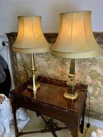 Pair Of Early 20th C Brass Lamps With Silk Shades (5 of 7)