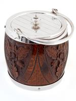 Carved Wood & Silver Plated Barrel with a White China Liner (2 of 4)