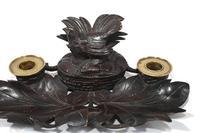 Black Forest Carved Inkwell Desk German Cuckoo Bird 1880 (3 of 8)