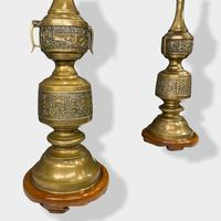 Large Pair of Chinese Style Brass Lamps (3 of 14)