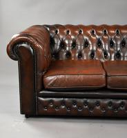 20th Century Brown Leather Buttoned Back Chesterfield Sofa (2 of 7)