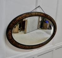 Black Lacquer Chinoiserie Oval Wall Mirror (4 of 6)