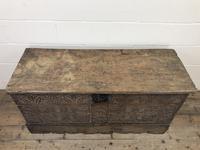 Antique Carved Oak Coffer or Blanket Box (4 of 11)