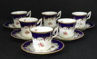 Beautiful Set of 6 Victorian Coalport Floral Decorated Coffee Cans & Saucers (2 of 7)