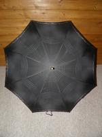 Antique Ladies Floral Black Canopy Umbrella W/Partridge Wood & Gold Plate Handle (4 of 15)