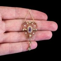 Antique Suffragette Floral Pendant Amethyst Peridot Pearl 9ct Gold Circa 1910 (4 of 6)