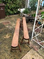 Pair of French Solid Oak Country Rustic Benches (4 of 6)