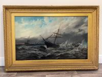 Huge 19th Century Seascape Oil Painting Sinking Ship Signalling Rescuers by Henry E Tozer (34 of 58)