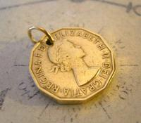 Vintage Pocket Watch Chain Fob 1954 Queen Elizabeth Threpenny Bit Coin Fob (5 of 7)
