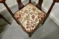 Pair of Edwardian Walnut Corner Chairs (4 of 6)