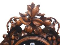 Rare Antique French Carved Dial Wall Clock 8 Day Movement Dial Black Forest Design (10 of 10)