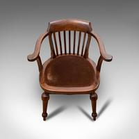 Antique Captain's Chair, English, Mahogany, Armchair, Seat, Edwardian c.1910 (7 of 12)