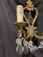 Pair of Heart Shaped French Antique Brass Wall Lights (5 of 13)