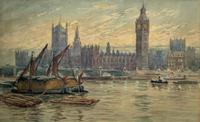 William Henry Harford - Houses of Parliament Riverscape Painting 19th Century (3 of 10)