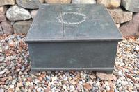 Scandinavian / Swedish 'Folk Art' original paint green/blue large table/alms/bible box raised on feet 1852 (24 of 36)