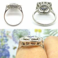 Authentic Art Deco Platinum Rose Cut Diamond & Sapphire Cluster Ring c.1920 (8 of 11)