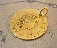 Victorian Pocket Watch Chain Fob 1890s Antique Brass Guinea Gambling Coin Fob (5 of 5)