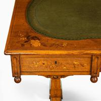 Victorian Walnut Marquetry Writing Table attributed to Edward Holmes Baldock (6 of 17)