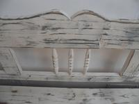 Shabby Chic White 3 Seater Antique Pine Kitchen/ Hall Box Settle / Bench (7 of 10)