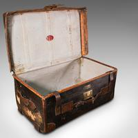 Vintage Overseas Voyage Trunk, English, Leather, Travel Case, Luggage c.1930 (7 of 12)