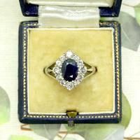 Vintage 18ct white gold sapphire diamond cluster ring ~ 1.55ct sapphire (6 of 10)