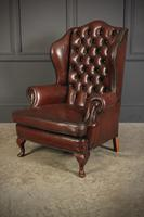 Pair of Queen Anne Style Buttoned Leather Wing Chairs (7 of 11)