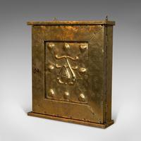 Petite Corner Cupboard, Brass, Mahogany, Wall, Cabinet, Art Nouveau, Victorian (3 of 12)