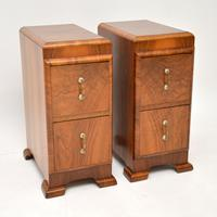 Pair of Art Deco Figured Walnut Bedside Chests (2 of 10)