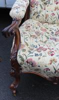 1859 Quality Beautiful Rosewood Mummy and Daddy Chair in Floral Upholstery (3 of 5)