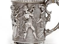 Ornate Victorian Electro Formed Silver Plated Lidded Tankard with Figural Scenes of Musicians (9 of 13)