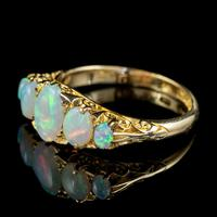 Antique Edwardian Opal Five Stone Ring 18ct Gold Dated 1908 (2 of 6)