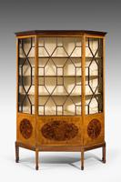 Edwardian Period Mahogany Display Cabinet with Offset Side Panels (2 of 8)