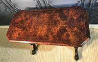 Victorian Burr Walnut Stretcher Table (3 of 9)