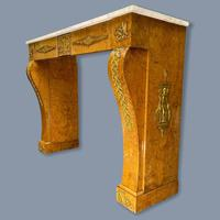 French Burr Walnut & Marble Top Console Table (13 of 14)