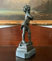 Fine Large 19th Century Antique Solid Bronze Cherub Sculpture Statue Figurine (3 of 13)