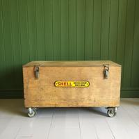 VINTAGE Industrial CHEST Coffee Table Mid Century Old Wooden TRUNK Retro Storage Box + Castors