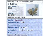 12.5ct Aquamarine & 0.62ct Diamond, 18ct Yellow Gold Brooch - Vintage c.1960 (8 of 9)