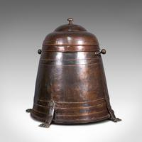 Antique Beehive Fireside Store, Copper, Fire Bucket, Coal Bin, Victorian c.1850 (4 of 12)