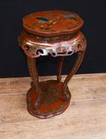 Chinese Pedestal Stand Table in Cinnabar Lacquer Chinoiserie (12 of 26)