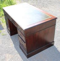 1960s Large Mahogany Pedestal Desk with Green Leather (5 of 6)
